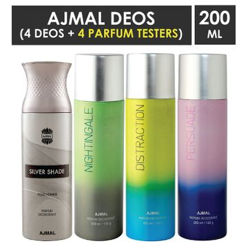 Ajmal | Ajmal 1 Silver Shade for Men, 1 Nightingale, 1 Distraction and 1 Persuade for Men & Women High Quality Deodorants each 200ML Combo pack of 4 (Total 800ML) + 4 Parfum Testers