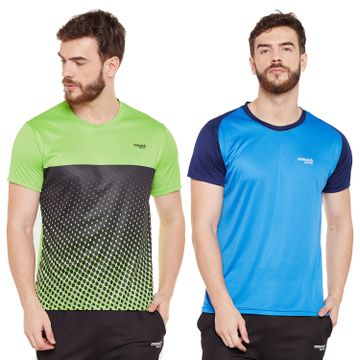 Masch Sports | Masch Sports Mens Polyester Printed & Colourblocked T-Shirts- Pack of 2 (Azure Blue,Lime Green & Navy Blue)
