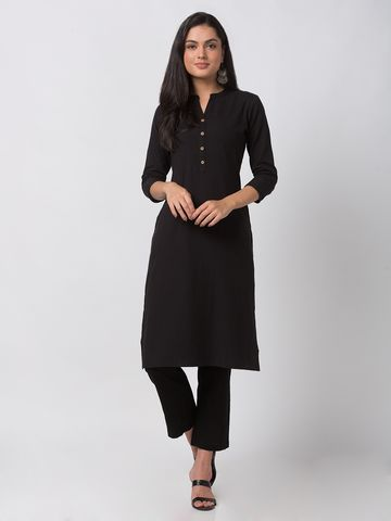 Ethnicity | Ethnicity Black Cotton Flax Women Kurta