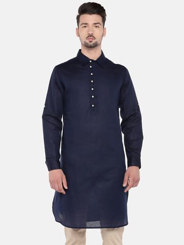 Ethnicity | Ethnicity Navy Cotton Linen Men Kurta