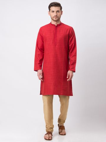 Ethnicity | Ethnicity Maroon Polyester Blend Kurta