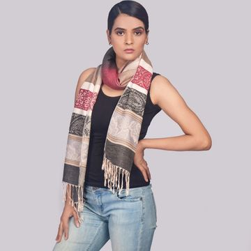 BELLEZIYA | Belleziya Multi Colored Geometric Scarves For Women With Long Fringes
