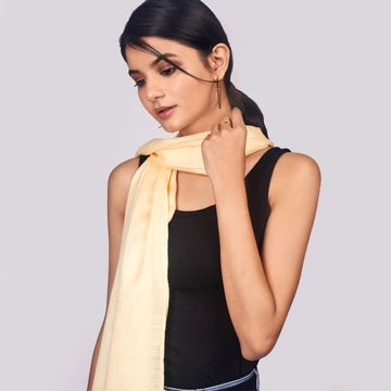 BELLEZIYA | Belleziya Beige Scarves For Women Stylish Fringes For Casual And Indian Wear