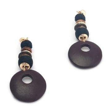 BELLEZIYA | Belleziya Brown And gold Finish Wooden Drop Earrings Trendy for Women and Girls