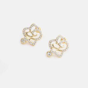 BELLEZIYA | Belleziya Gold Finish Floral Shaped Stone Studded Stud Earrings For Casual & Festive Wear