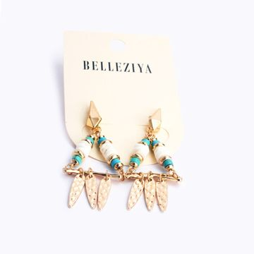 BELLEZIYA | Belleziya Beaded Gold Plated Drop Down Earrings White Green Bohemian Trendy Jewelry For Women/Girls