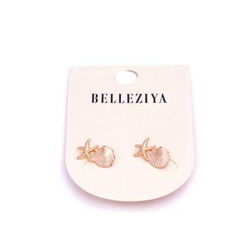 BELLEZIYA | Belleziya Gold Plated Fashion Earrings Drop Down Shell Star Fish Shaped Trendy Studs For Women/Girls