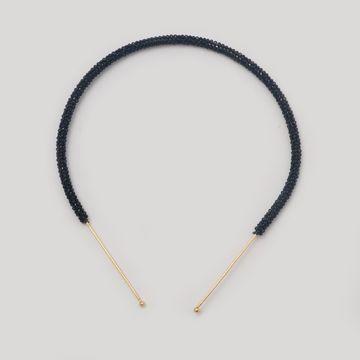 BELLEZIYA | Belleziya Black Bead Gold Finish Sleek Headband For Women & Girls For Casual & Formal Wear