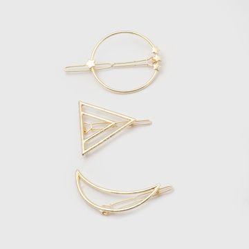 BELLEZIYA | Belleziya Gold Finish Geometric Shaped Hair pin set, Set of 3 for Casual & Evening wear
