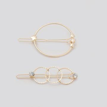 BELLEZIYA | Belleziya Gold Finish Abstract Shaped Hair pin set, Set of2 for Casual & Evening wear