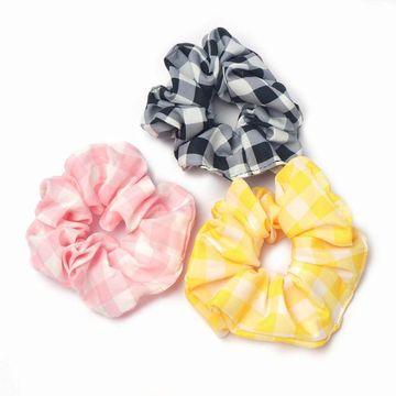 BELLEZIYA | Belleziya Plaid Scrunchies Black/Pink/Yellow Hair band Pack of 3 for Women