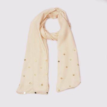 BELLEZIYA | Belleziya Beige Embellished Scarves for Women & girls For Casual & Evening wear