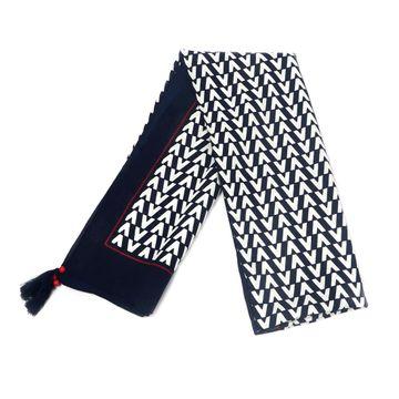 BELLEZIYA | Belleziya blue geometric print tasseled scarf for women & girls for casual & formal wear