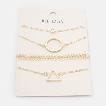 BELLEZIYA | Belleziya Gold Finish Bracelets set of 4 for Women & Girls For Casual & formal Wear