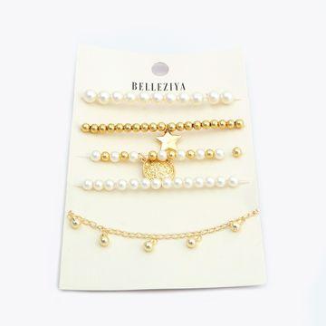 BELLEZIYA | Belleziya Gold Finish & Pearl Bracelet Set for Women & Girls For Casual & Formal Wear