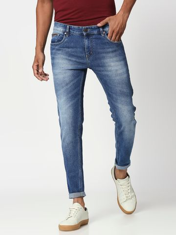 Bolts & Barrels | Bolts and Barrels Men  Blue Mid Rise Ankle length Slim Fit Jeans