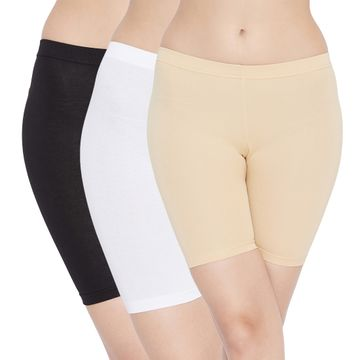 Carein | Care in Women Lycra Shorty Combo Set- Pack of 3 (Black,White,Skin)