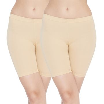Carein | Care in Women Lycra Shorty Combo Set- Pack of 2 (Skin)