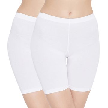 Carein | Care in Women Lycra Shorty Combo Set- Pack of 2 (White)