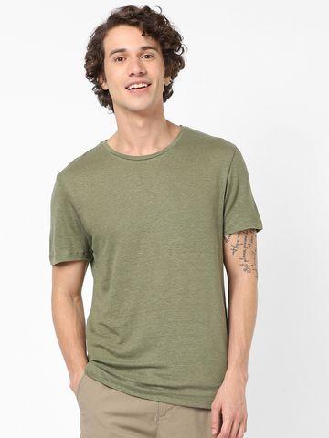 celio | Olive Linen T-Shirts