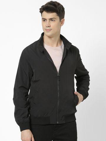 celio   Straight Fit Band Collar Black Jacket