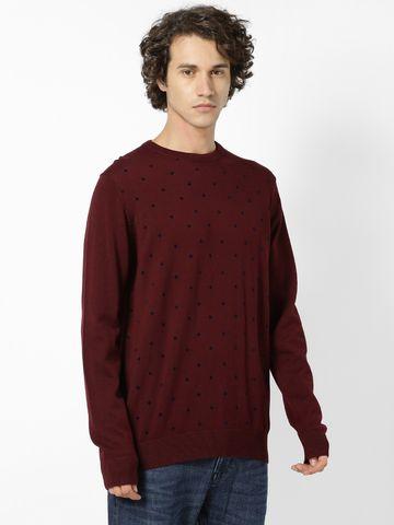 celio | Round Neck Burgundy Sweater