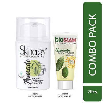 Cosmetofood   Cosmetofood Skinergy Avocado Yogurt Hydrating Face Cleanser With Avocado Body yogurt, 75 mL