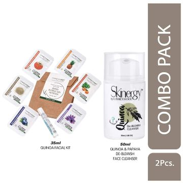 Cosmetofood   Cosmetofood Skinergy Quinoa & Papaya De-Blemish Face Cleanser With Quinoa Facial Kit, 85 mL
