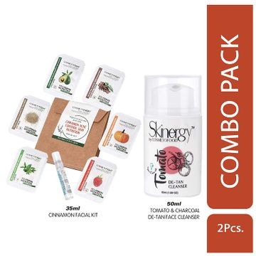 Cosmetofood   Cosmetofood Skinergy Tomato & Charcoal De-Tan Face Cleanser With Cinnamom Facial Kit, 85 mL