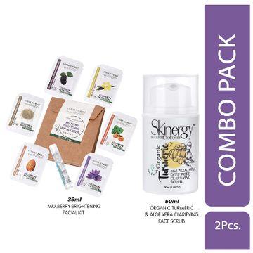 Cosmetofood   Cosmetofood Skinergy Organic Turmeric & Aloe Vera Clarifying Face Scrub With Mulberry Facial Kit, 85 mL
