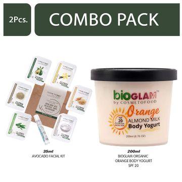 Cosmetofood | Cosmetofood Bioglam Organic Orange Body Yogurt SPF 20 With Avocado Facial Kit, 235 mL