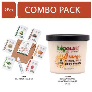 Cosmetofood | Cosmetofood Bioglam Organic Orange Body Yogurt SPF 20 With Cinnamon Facial Kit, 235 mL