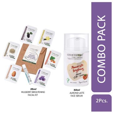 Cosmetofood   Cosmetofood Professional Combo Of Almond Latte Brightening Face Serum With Mulberry Facial Kit, 85 mL