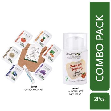 Cosmetofood   Cosmetofood Professional Combo Of Almond Latte Brightening Face Serum With Quinoa Facial Kit, 85 mL