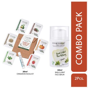 Cosmetofood   Cosmetofood Professional Combo Of Basil & Mint Pore Refining Face Serum With Cinnamon Facial Kit, 85 mL