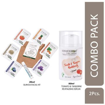 Cosmetofood   Cosmetofood Professional Combo Of Tomato & Tangerine Revitalising Serum With Quinoa Facial Kit, 85 mL