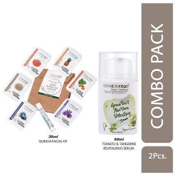 Cosmetofood   Cosmetofood Professional Combo Of Green Tea & Aloe Vera Detoxifying Serum With Quinoa Facial Kit, 85 mL