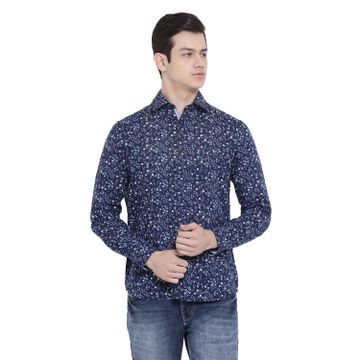 Crimsoune Club | Crimsoune Club Men's Blue Printed Casual Shirt