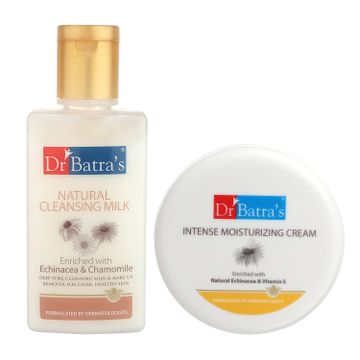 Dr Batra's | Dr Batra`s Natural Cleansing Milk - 100 ml. and  Intense Moisturizing Cream -100 g (Pack of 2 Men and Women)