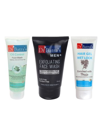 Dr Batra's | Dr Batra's Men Exfoliating  Face Wash - 125 g, Hair Gel - 100 gm and Face Wash Oil Control - 100 gm (Pack of 3 for Men)