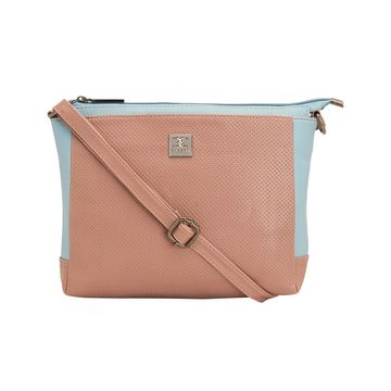 ESBEDA | ESBEDA Peach and Aqua Two Contrasting Colors Sling bag For Women