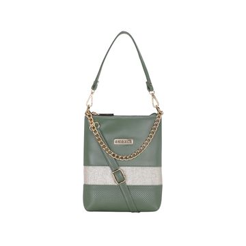 ESBEDA | ESBEDA Olive Color Lace Glitter Slingbag For Women
