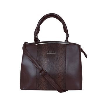 ESBEDA | ESBEDA Coffee Brown Colour Glaze Croco Handbag For Women