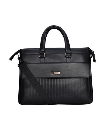 ESBEDA | ESBEDA Black Color Emboss Stripes RFID Laptop Bag For Women