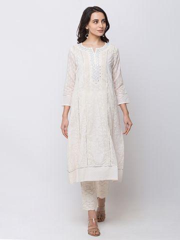 Ethnicity   Ethnicity Chanderi Kalidar Women White Kurta
