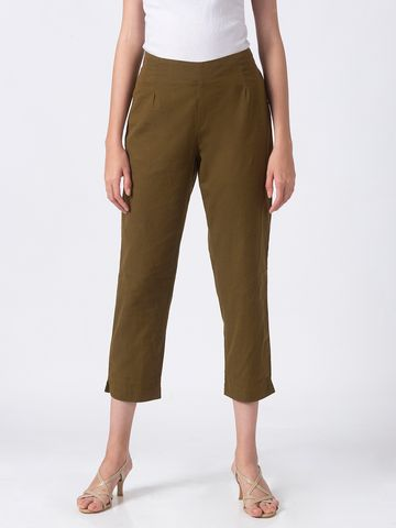 Ethnicity | Ethnicity Olive Cotton Flex Women Pants