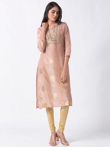 Ethnicity | Ethnicity Pink Linen Jacquard Women Kurta