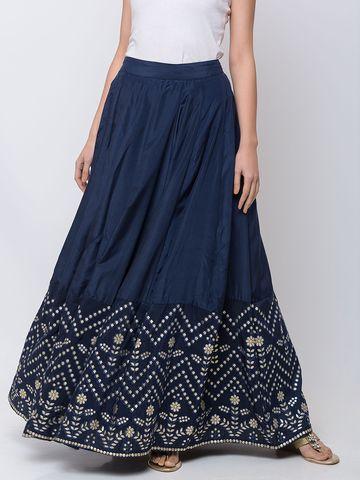 Ethnicity | Ethnicity Viscose Shantoon Kalidaar Women Navy Skirt