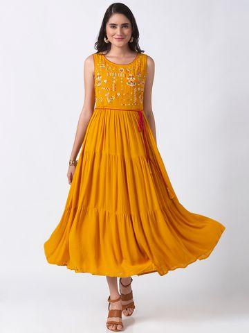 Ethnicity | Ethnicity Mustard Wrinkle Rayon Women Dress
