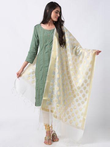Ethnicity | Ethnicity Off White Chanderi Women Dupatta